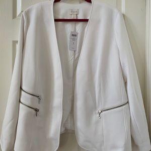 Chico's White Blazer with Zipper detail